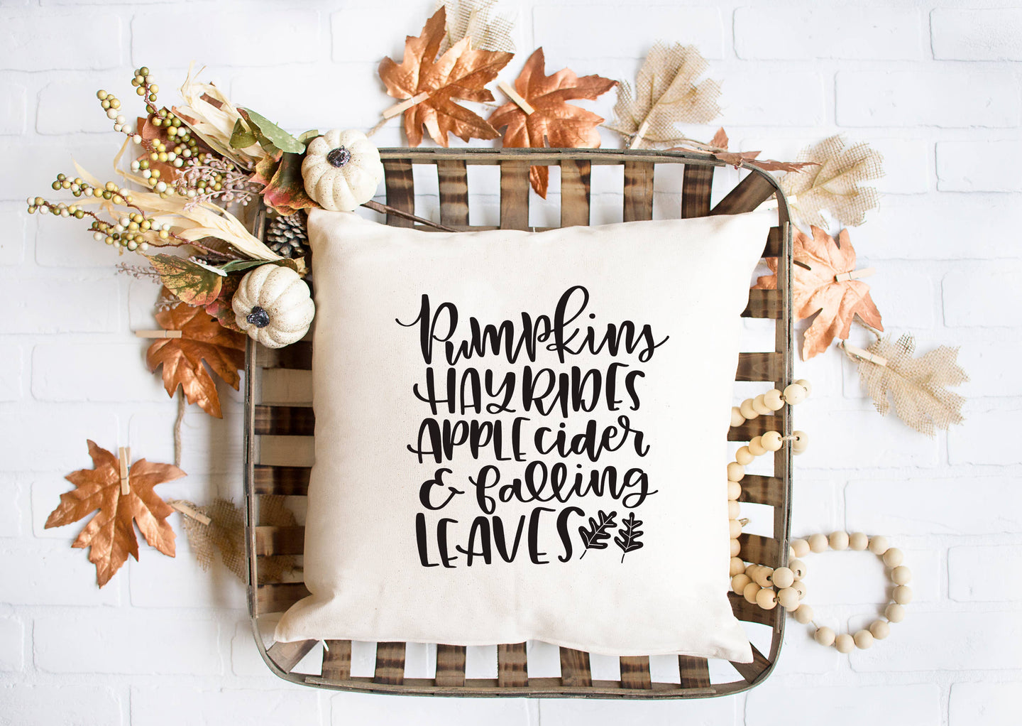 Pumpkins Hayrides Apple Cider & Falling Leaves Pillow