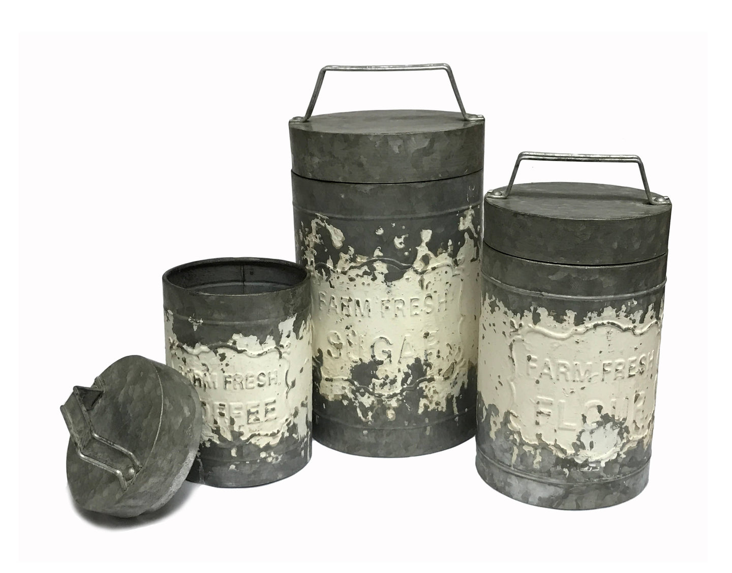 Set Of 3 Farmhouse Cannisters