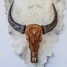 Load image into Gallery viewer, Hand Carved Buffalo Skull - Antique Heart