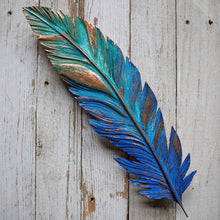 Load image into Gallery viewer, Giant Copper Feather - Blue/Green