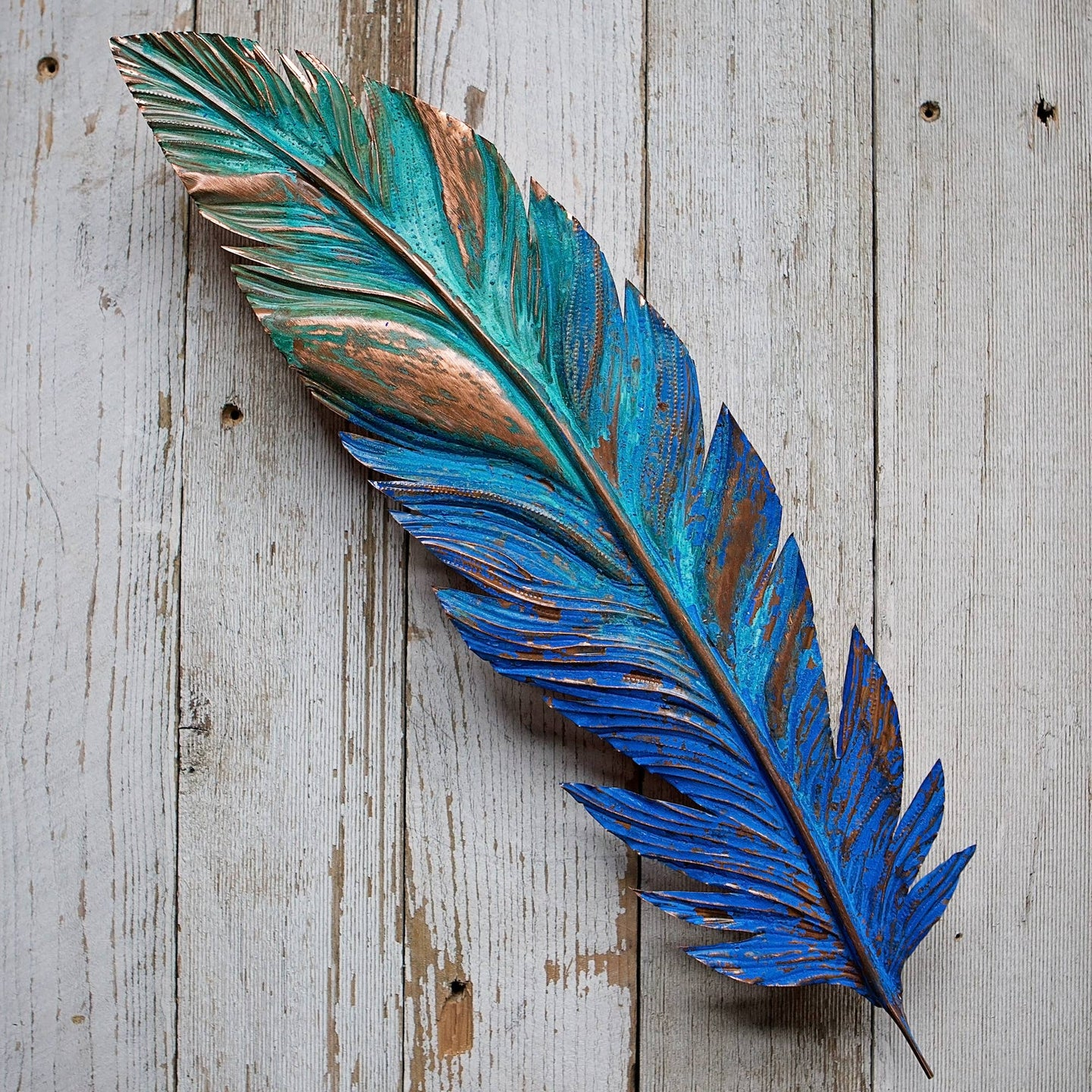 Giant Copper Feather - Blue/Green