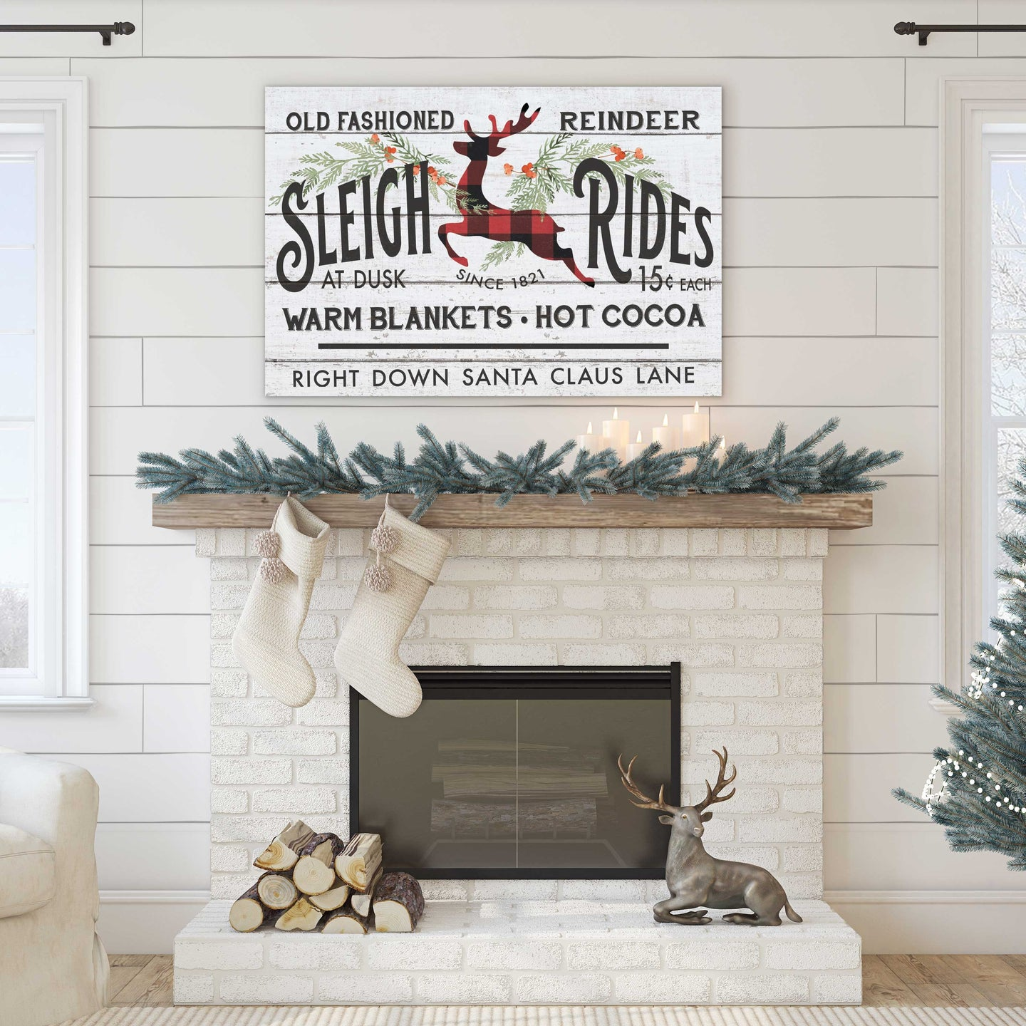 34x23 Old Fashioned Sleigh Ride Sign