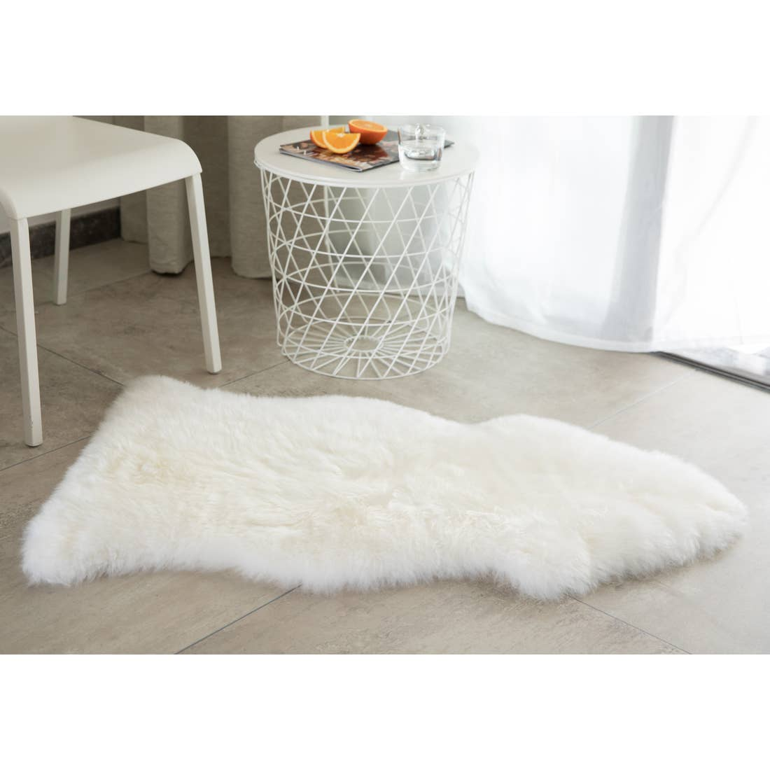 White Genuine Australian Lamb Fur Sheepskin Rug