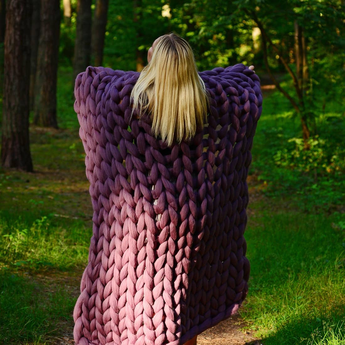 Pale Purple Chunky Knit Blanket 30x50 inches