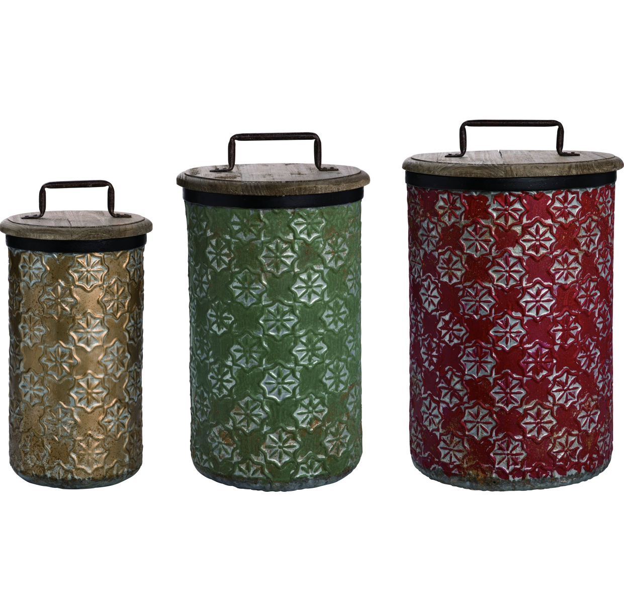 Metal 17 in. Multicolor Christmas Nested Container Set of 3