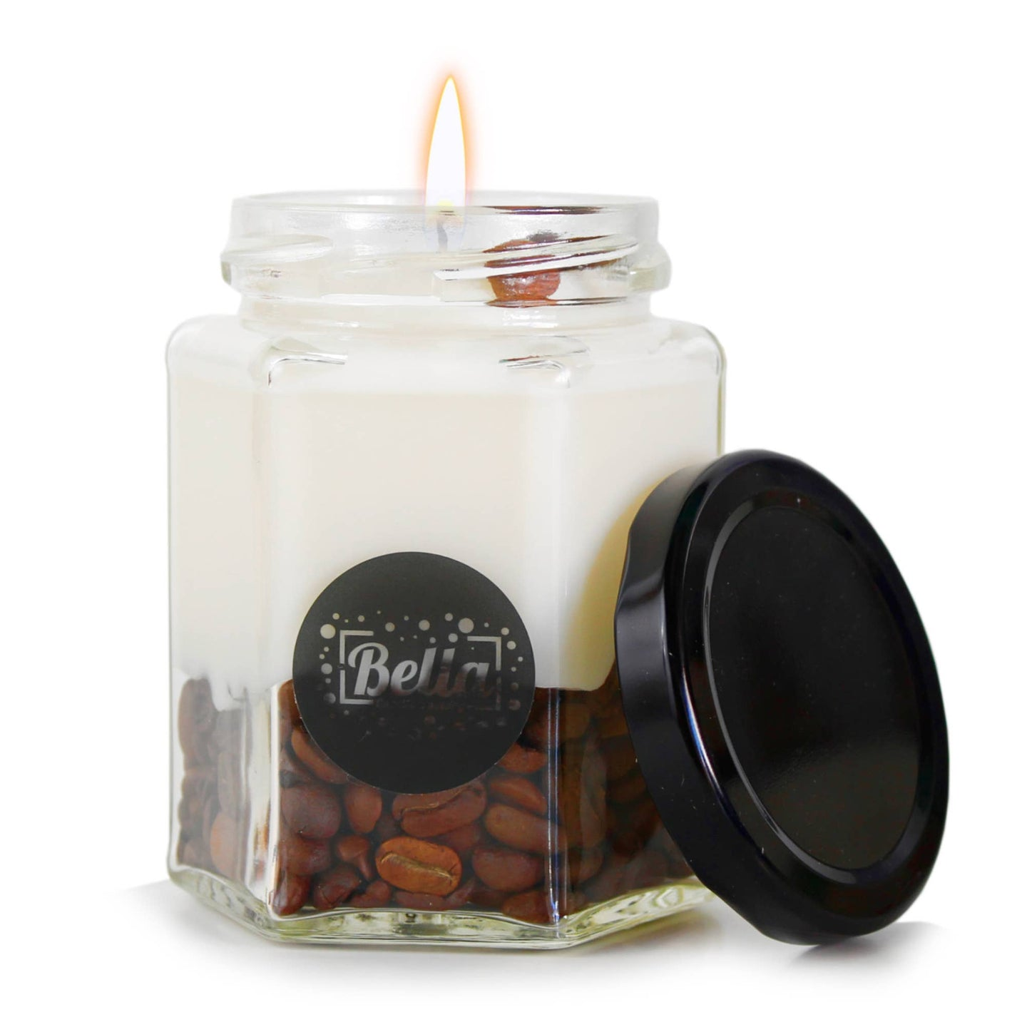 Coffee Falls: soy candle with coffee beans