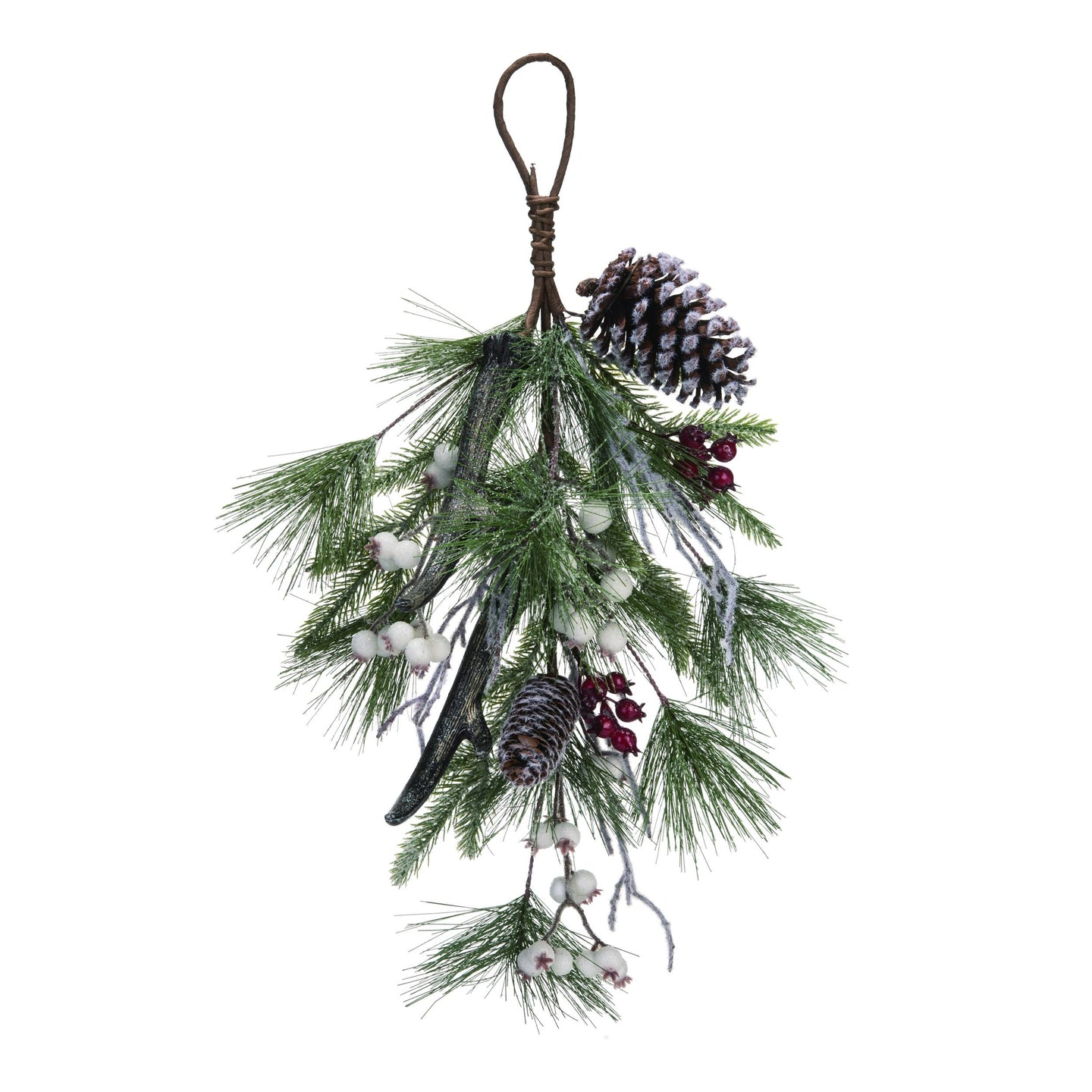 Artificial 24 in. Brown Christmas Holiday Teardrop with Berry and Antler Accent