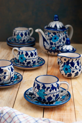 Petal Blue Pottery Tea Set