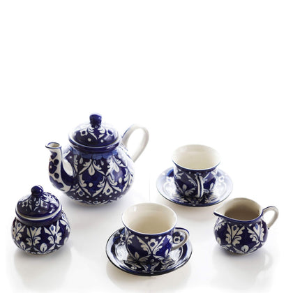 Metallic Blue Tea Set