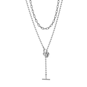 Silver Heart Lariat Set