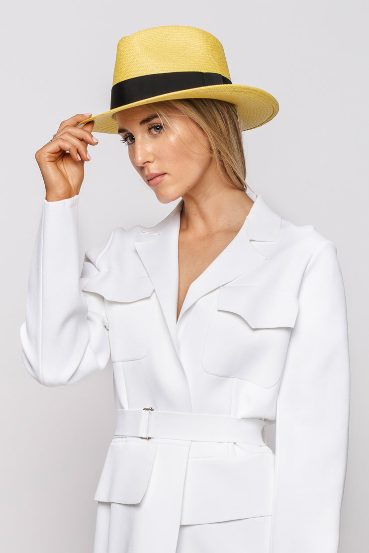 Dolce & Gabbana Mustard Yellow Hat with Black Ribbon