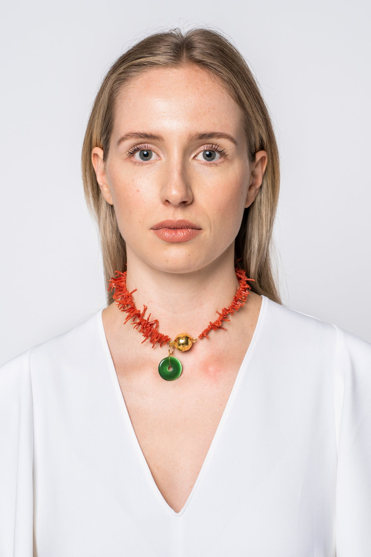 Timeless Pearly Red Coral Necklace With Dark Green Stone