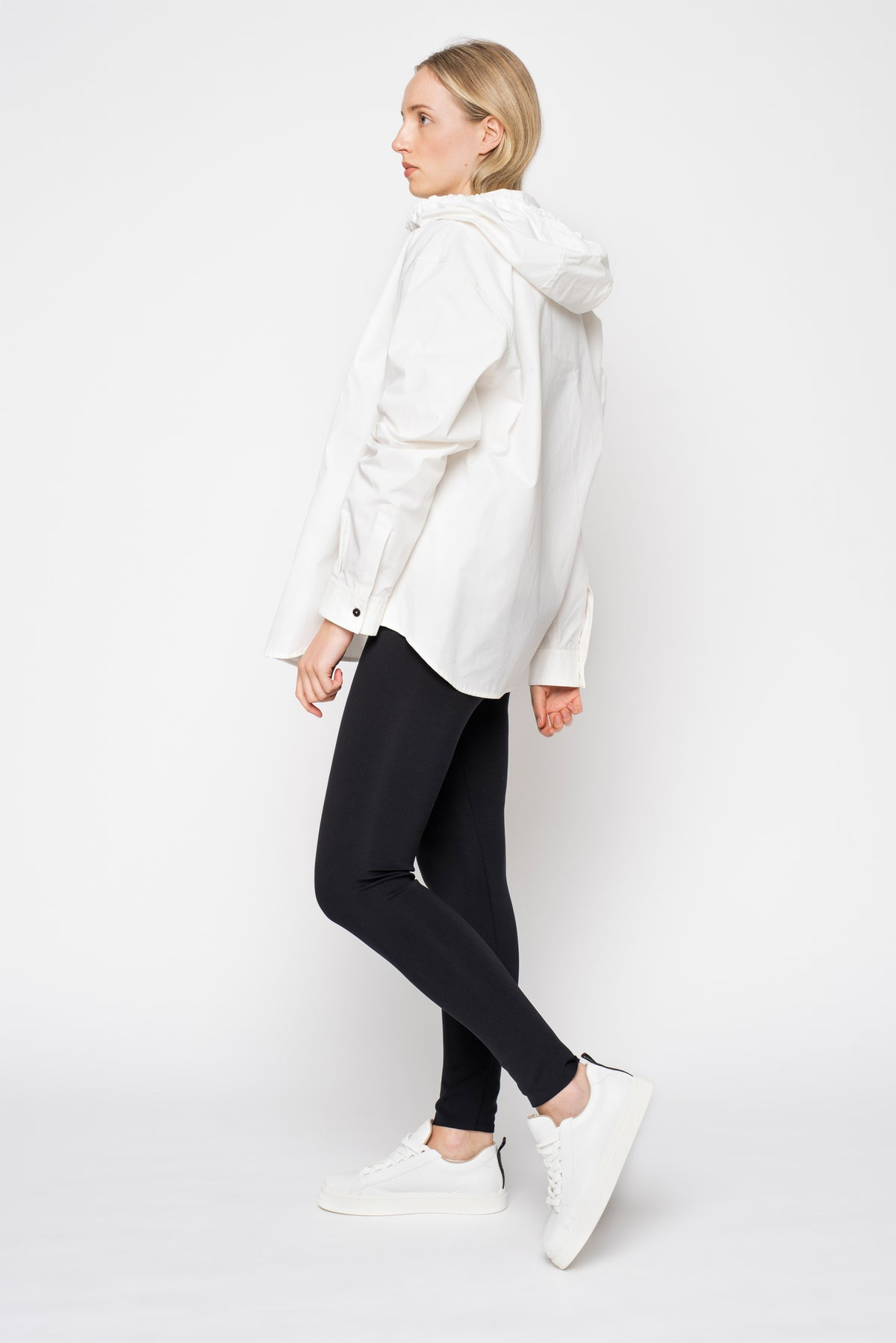 Jil Sander White Cotton Shirt with Hood