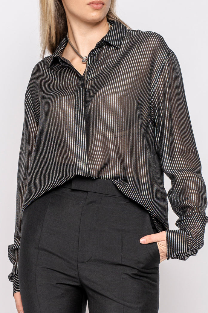 Saint Laurent Black Evening Shirt with Silver Lame Pinstripe