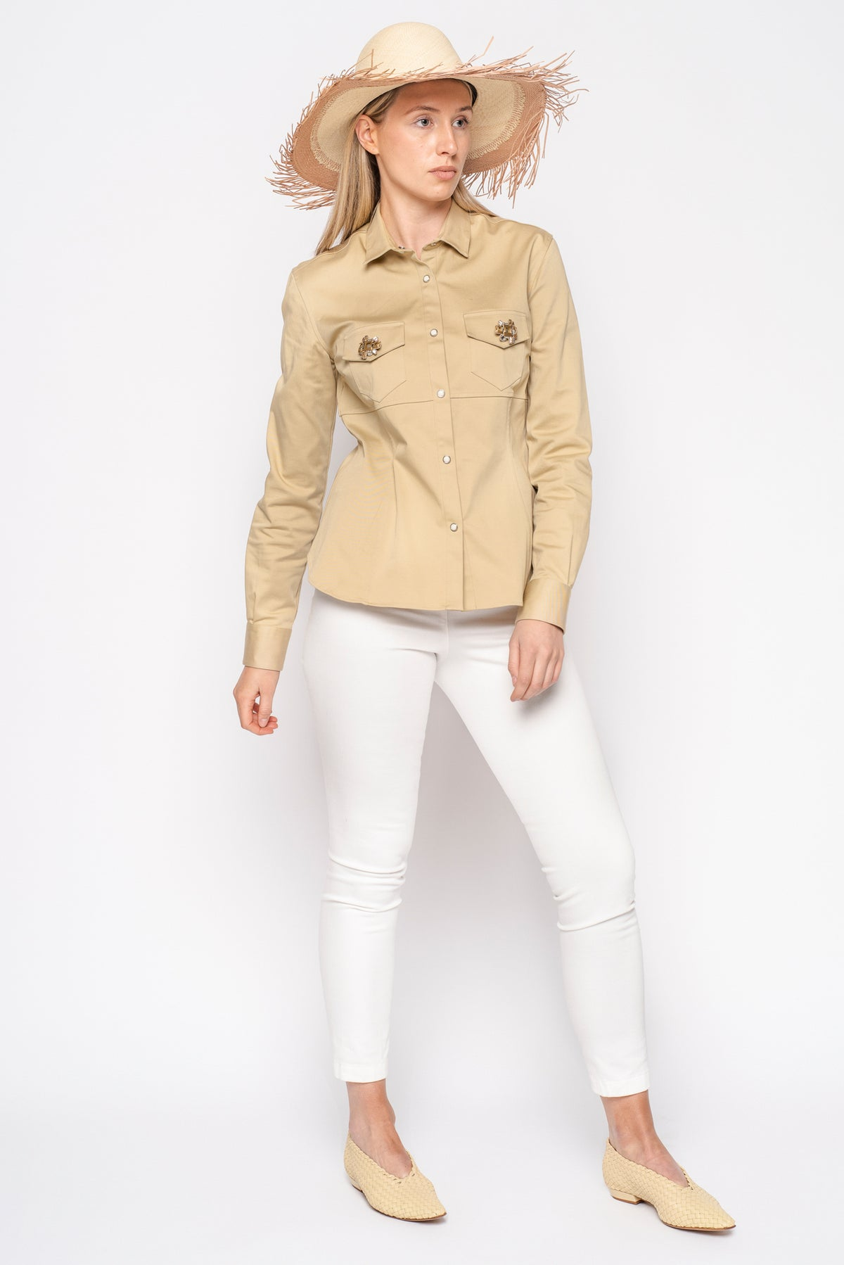 Ermanno Scervino Beige Cotton Safari Shirt with Embellished Pockets