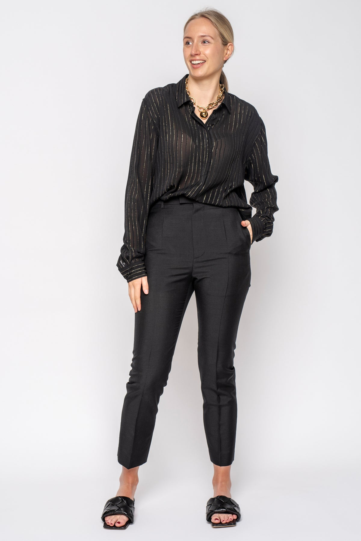 Saint Laurent Black Chiffon Evening Shirt with Gold Pinstripe