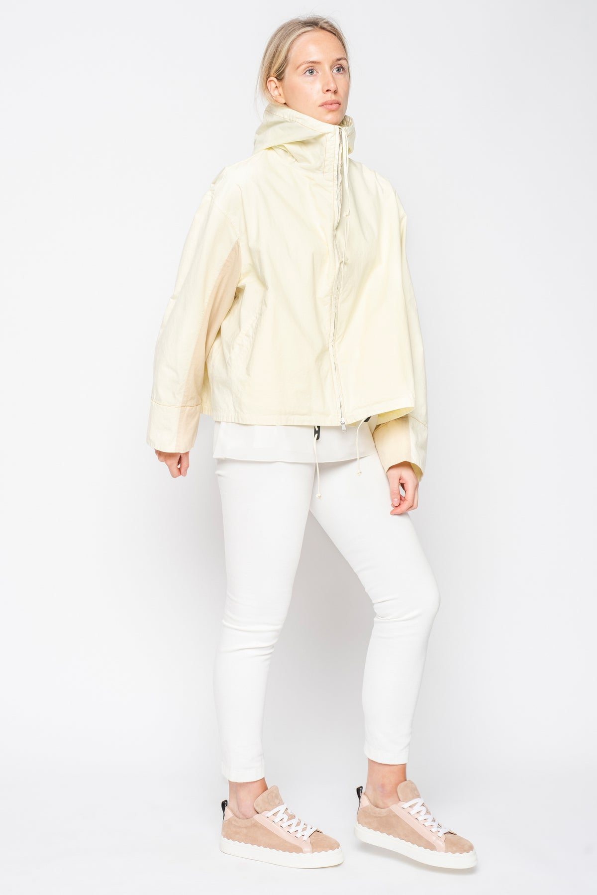 Jil Sander Lemon Cotton Swing Jacket with Beige Back