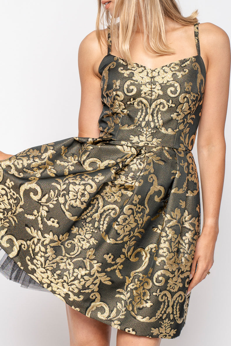 Dolce & Gabbana Gold and Black Brocade Lurex Bustier Dress