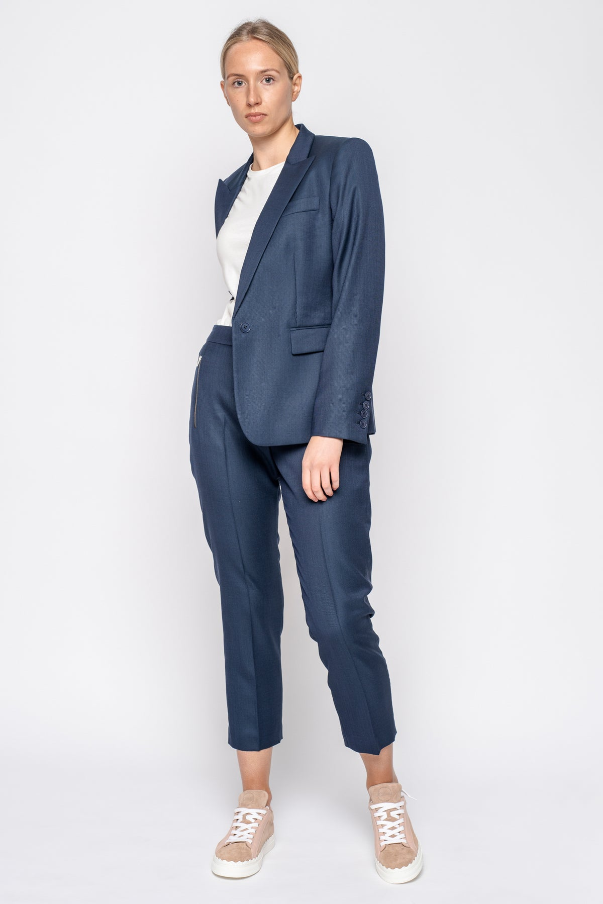 Stella McCartney Washed Blue Tailored Pant with Silver Zips