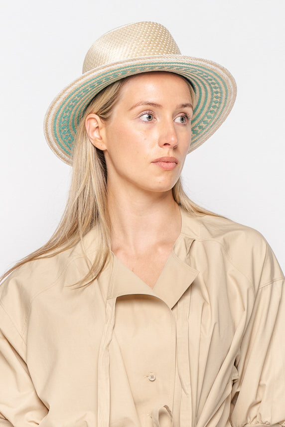 Yosuzi Natural Alba Hat with Light Blue Underside Pattern