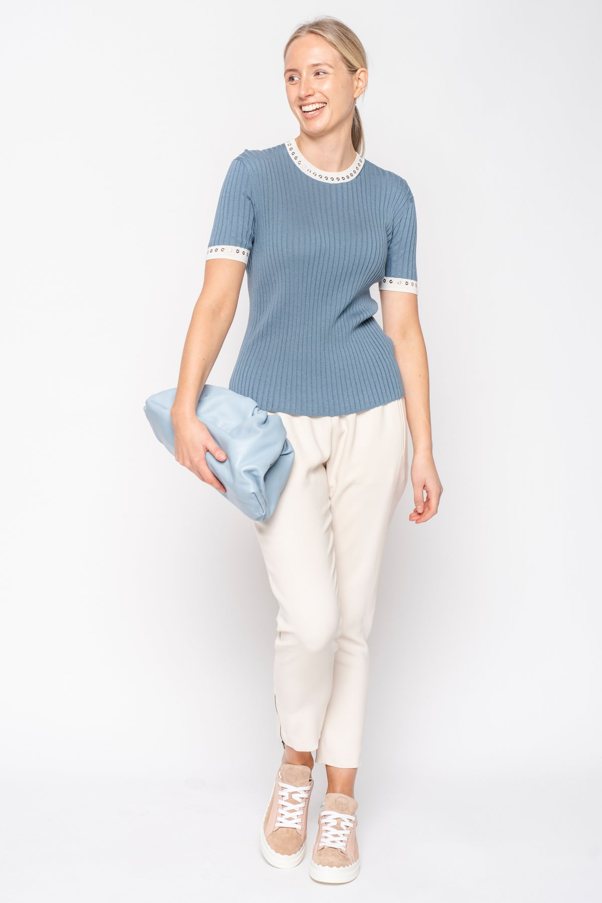 Chloé Ocean Blue Short Sleeve Knit with Eyelet Neck Detail