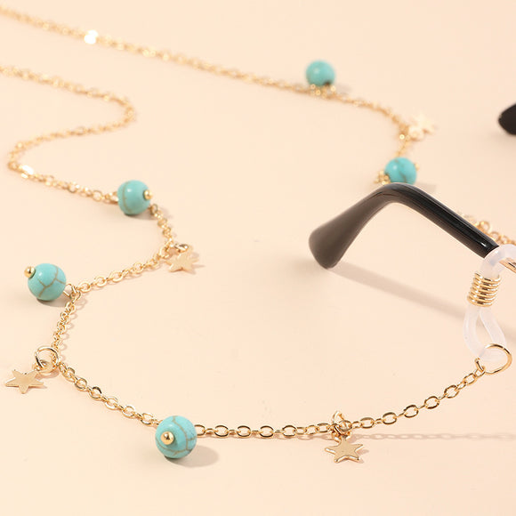 gold stars and turquoise balls glasses chain