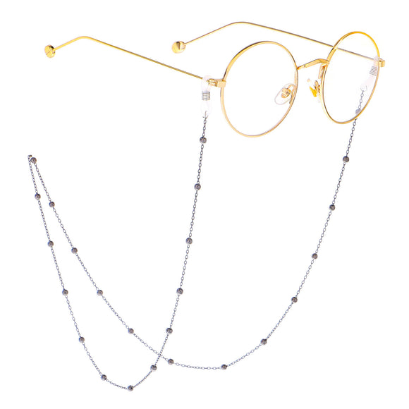 gun metal coloured glasses and sunglasses chain