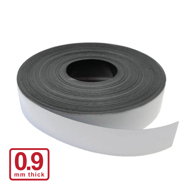 50 x 0.9mm White Gloss Magnetic Stripping (Flexible Rubber)