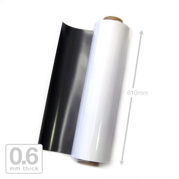 610 x 0.6mm White Gloss Magnetic Roll (Flexible Rubber)