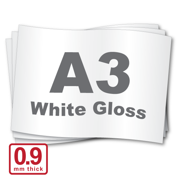 A3 x 0.9mm White Gloss (Oversize A3)