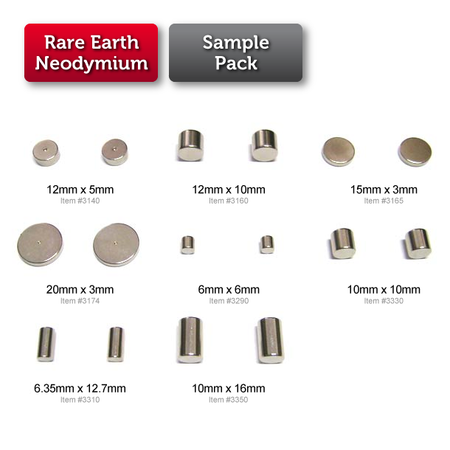 Sample Pack (Rare Earth)  (Medium sizes) (for Prototyping)