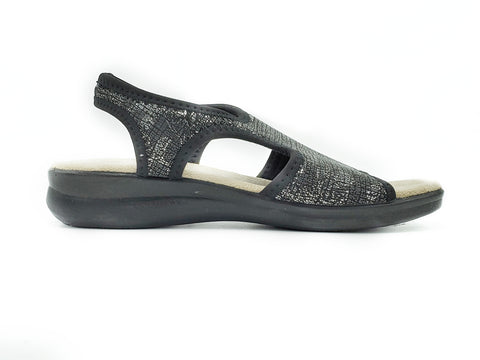 "Polyflex ""comfort made in Italy"" T-Strap  Walking Sandal (Black, Silver Flower print)"