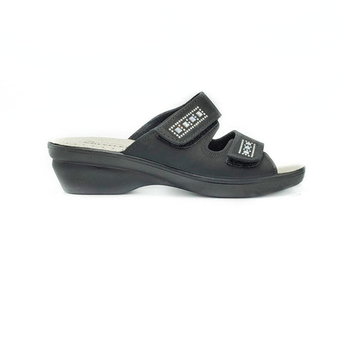 "Polyflex ""made in Italy"" House Sandal (Black) Two Velcro Straps"