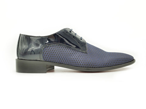 Men's Blue Derby Formal Shoe (Honeycomb Fabric Toe)