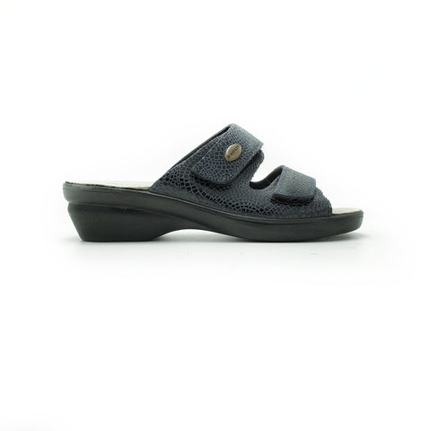 "Polyflex ""comfort made in Italy"" House Sandal (Navy) Two Velcro Straps"