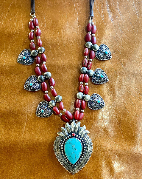 Red Colorines Sacred Heart Necklace