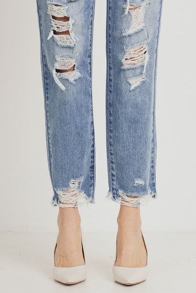 High Waisted Distressed Girlfriend Jeans