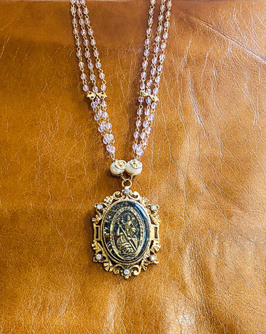 Rose Crystal St. Christopher Necklace
