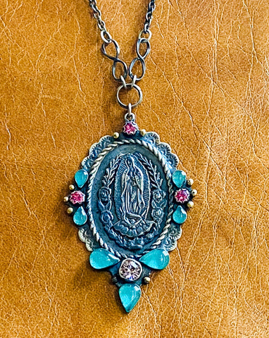 All Around Scalloped Natura Lady Of Guadalupe Necklace