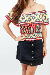 Flying Tomato Woven Tribal Print Top
