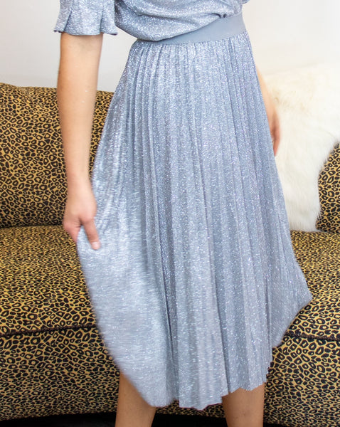 Pleated Banding Skirt in Shimmer Glitter
