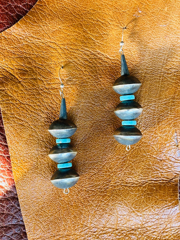 Triple Disc and Turquoise Earrings