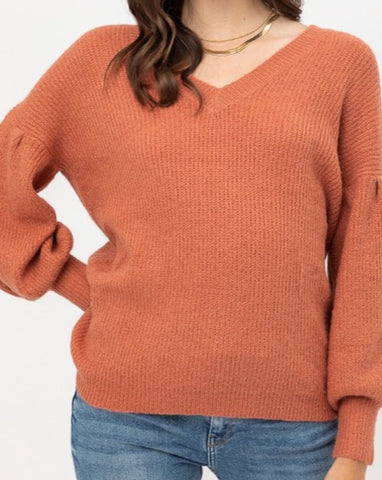 Ballon Sleeve Knit Sweater