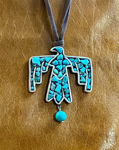 Large Turquoise Thunderbird Necklace