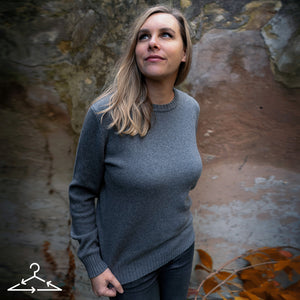 Grey Recycled Cashmere Pullover, Recyclced Kaschmir Pullover in grau