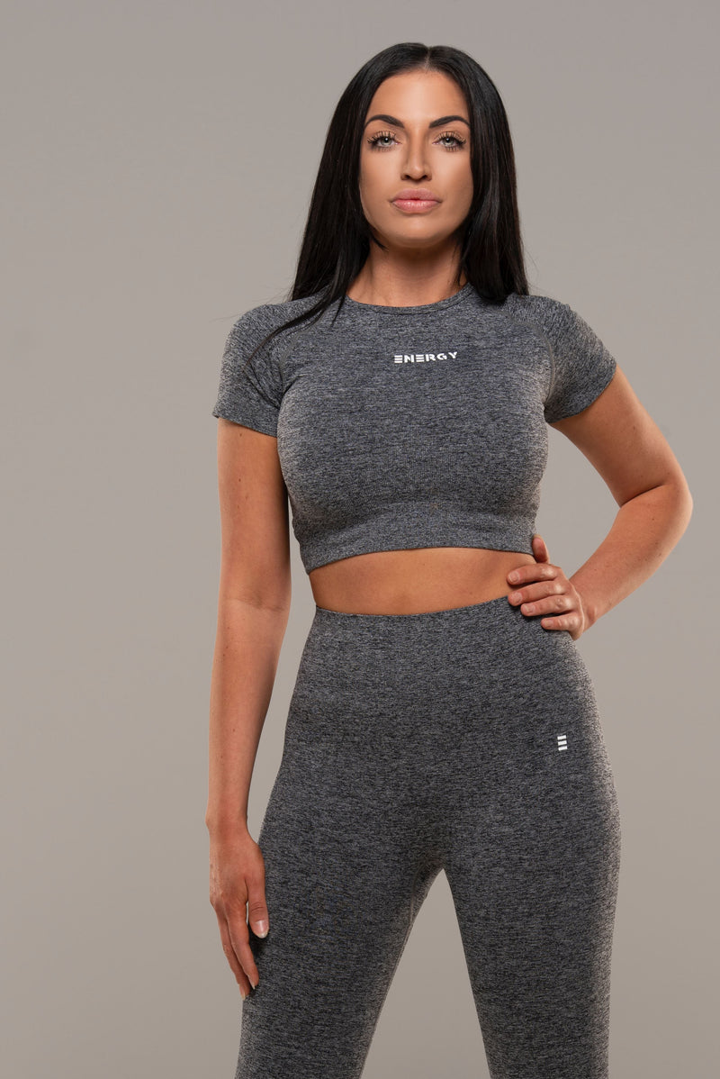 VIBE Grey Crop Top - Energy Gym Wear