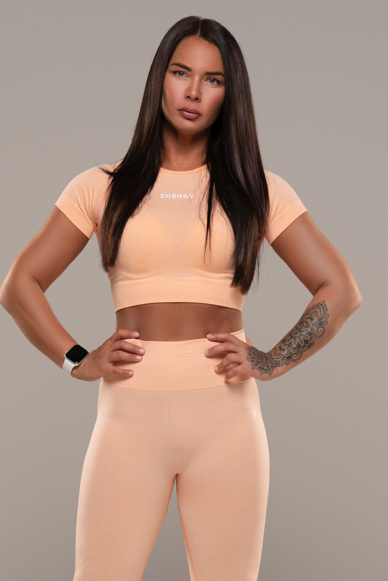VIBE Peach Crop Top - Energy Gym Wear