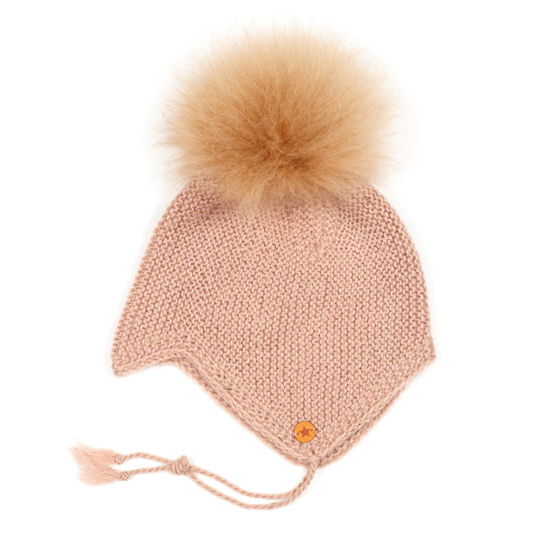 Huttelihut Baby Hut Dusty rose med pompom