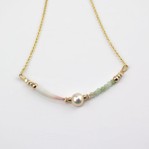 KellyMarie Jewellery Design - Natural  Shell, Green Opal Necklace