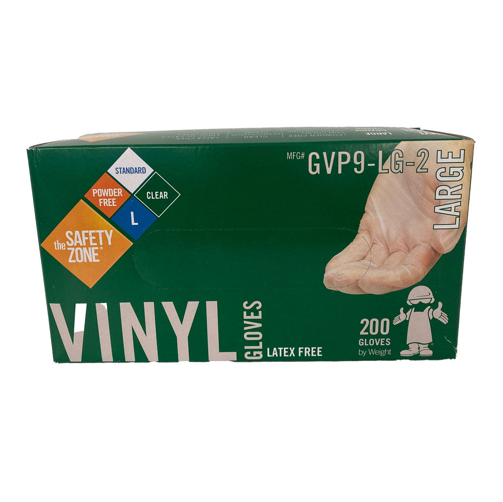 The Safety Zone Vinyl Gloves - 200 Large Clear